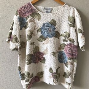 Vintage 90s Floral Spring SS Knit Cropped Sweater